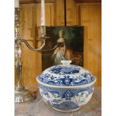 Pot Couvert Porcelaine Blanc Bleu - Chine Epoque XIX ème