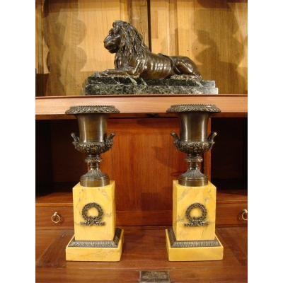 Pair Of Bronze Casseroles With Medici Vases