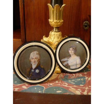 Paire De Portraits En Miniatures