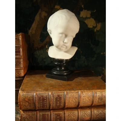 Child Marble Head Sculpture - Second Empire Period