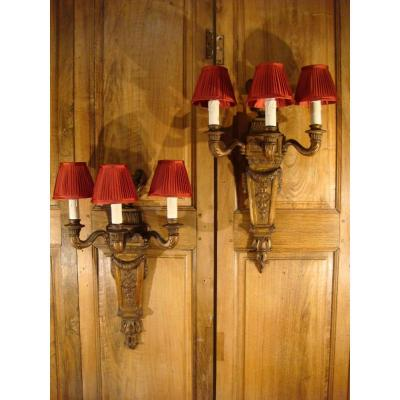 Pair Of Wooden Sconces With Three Lights - Late Nineteenth Period
