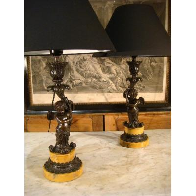 Pair Of Bronze Lamps With Love - Restoration Period
