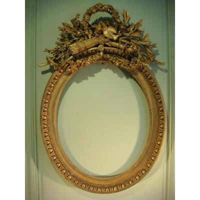 Oval Frame In Golden Wood Stamped From Infroit - Louis XVI Period