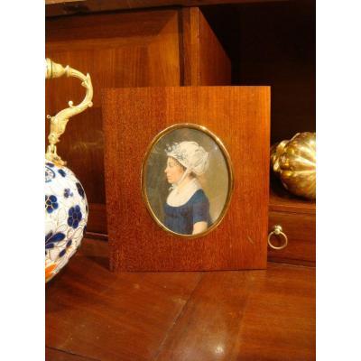 Miniature Portrait Woman In Profile - Directoire Period