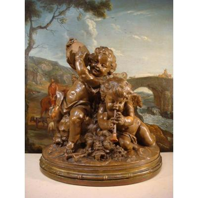 Large Terracotta Sculpture With Musical Angels