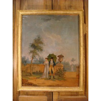 Table Oil On Canvas Walk In A Park - Directoire Period