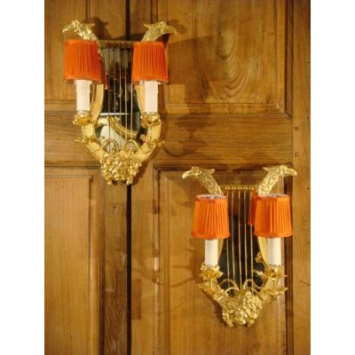 Pair Of Lyre Wall Lights With Bacchus Head