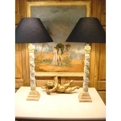 Pair Of Lamps With Lacquered Columns And Vine Leaves - Eighteenth Time