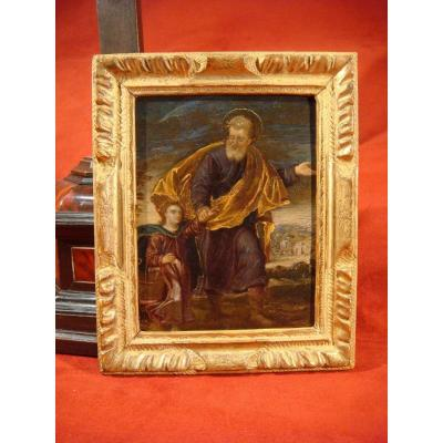 Table Oil On Copper Saint Joseph And The Child Jesus