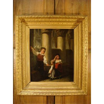 Oil On Canvas Children In A Church