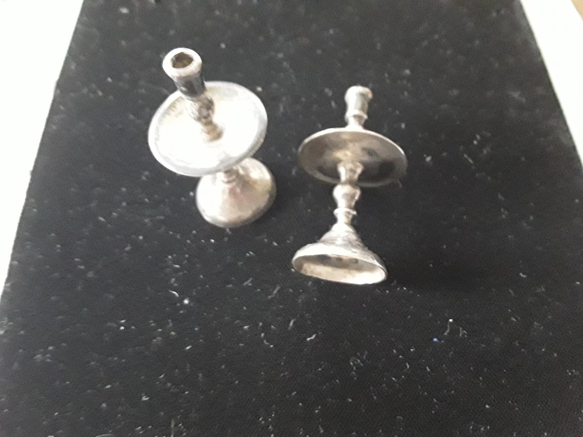Pair Of Silver Miniature Candlesticks 19th Sc.