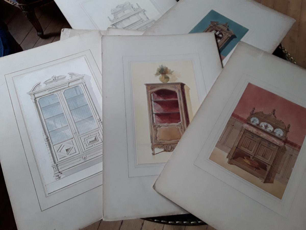 Rare Set Of 12 Watercolors, Furniture Projects, Bury Cabinet Maker.