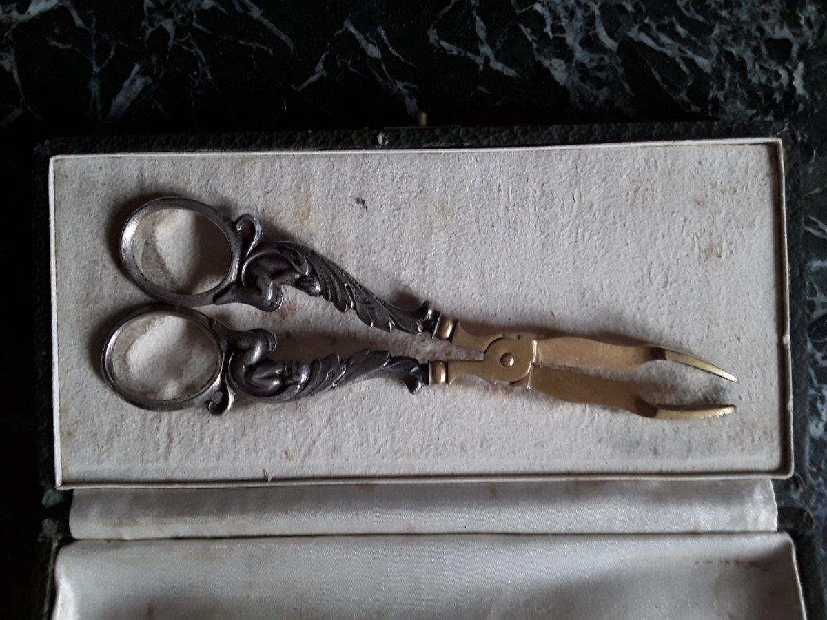 Sugar Tongs In Sterling Silver And Metal Dore 19th.