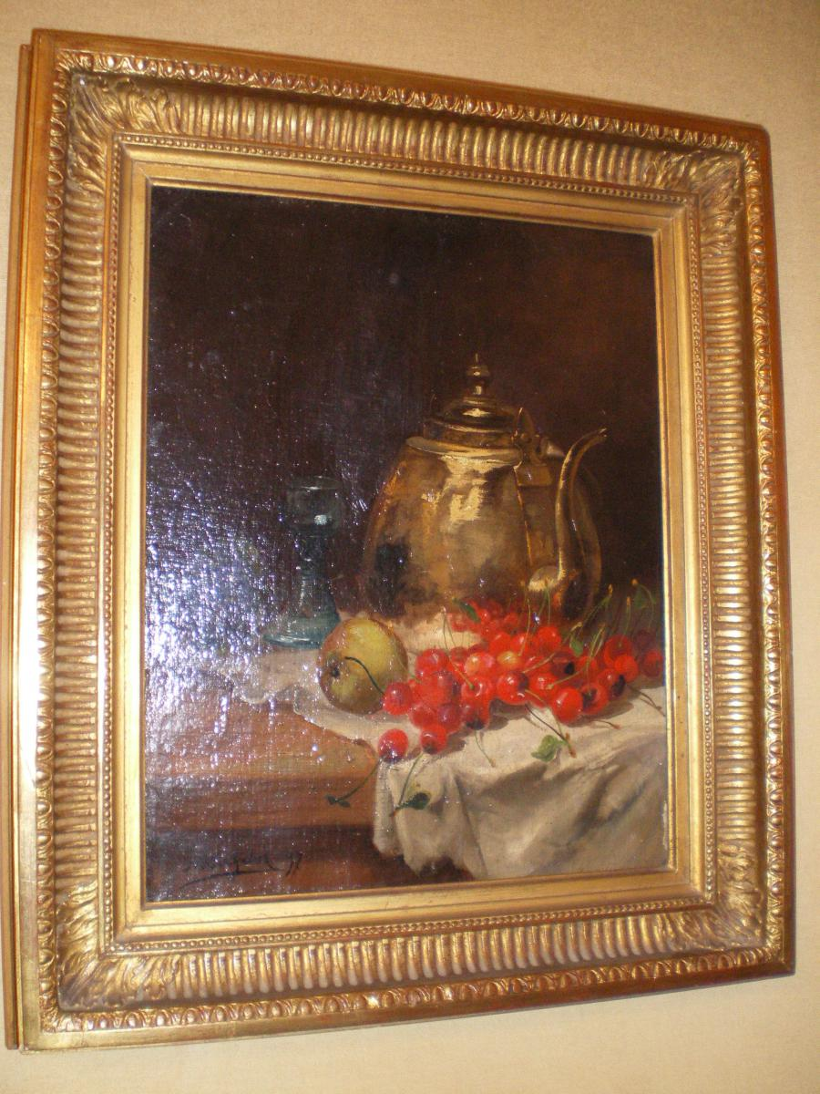 Oil On Canvas Still Life With Cherries