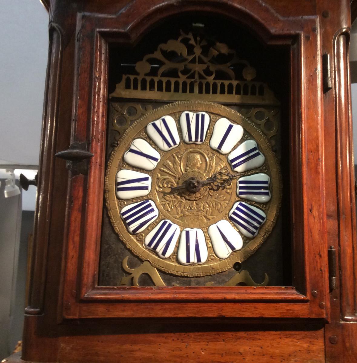Horloge De Parquet En Noyer d'époque Louis XIV-photo-2