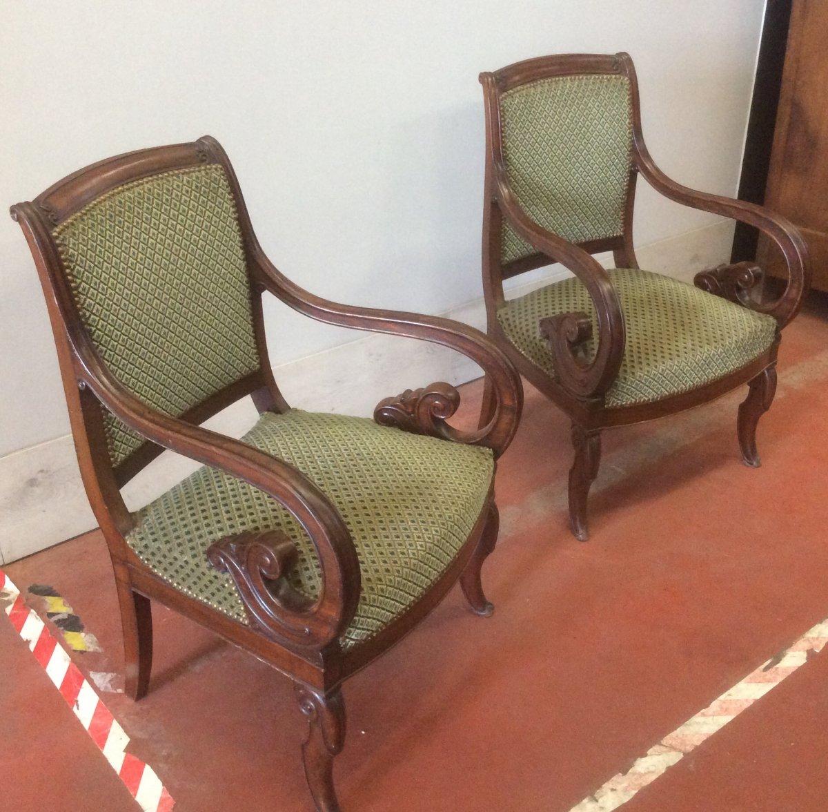 Paire De Fauteuils En Acajou D'époque Restauration