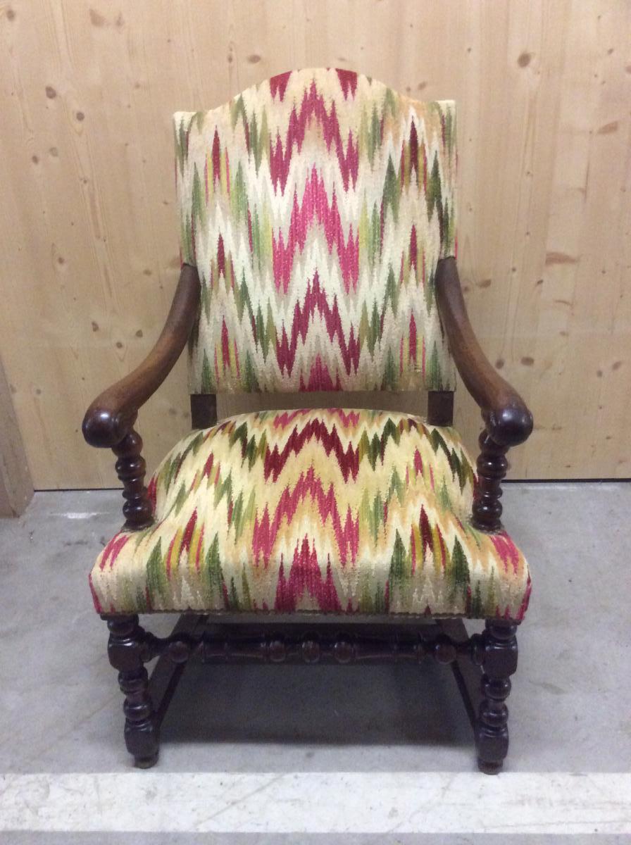 fauteuil d 39 epoque louis xiii a dossier court fauteuils. Black Bedroom Furniture Sets. Home Design Ideas