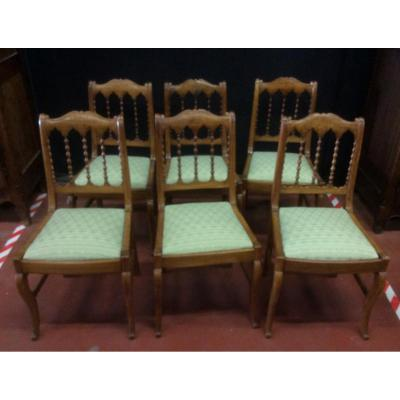 Suite Of 6 Walnut Chairs In Restoration Period
