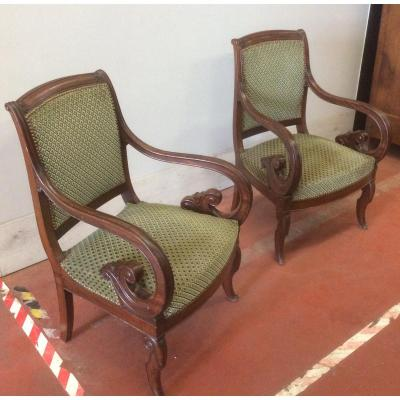 Pair Of Mahogany Armchairs Of Restoration Period