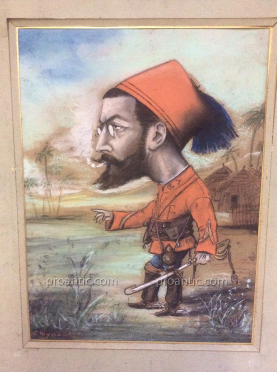 Pastel Caricature Militaire