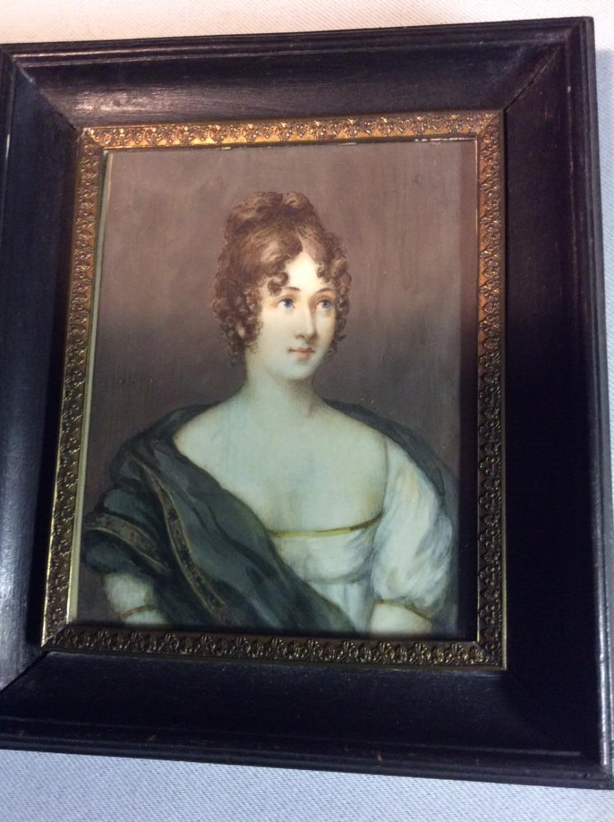 "Miniature XIXème "" Jeune Femme """