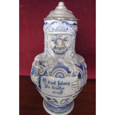 "Beer Pot ""au Grotesque"" In Sandstone Nineteenth"