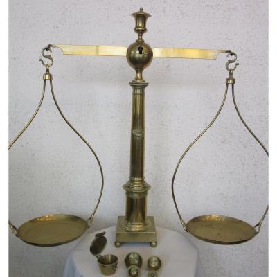 Balance XIXème à Colonne Avec Poids