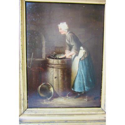Tableau XIXème Jeune Femme