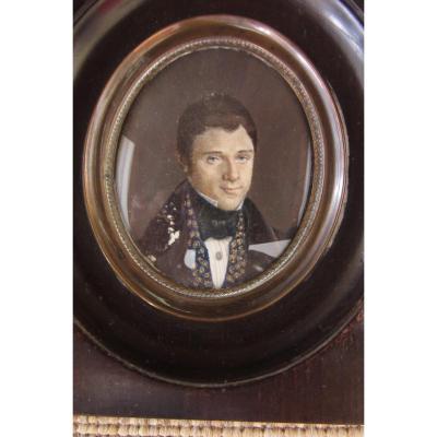 Miniature d' Un Homme Vers 1830