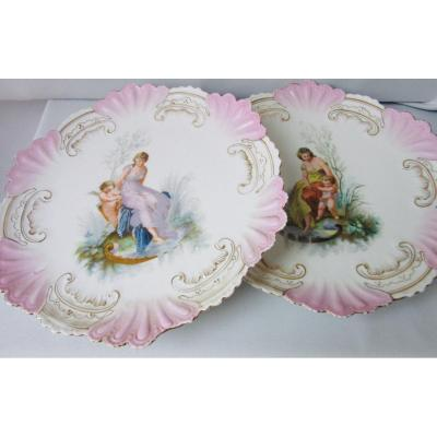 Paire De Plats Porcelaine Art Nouveau