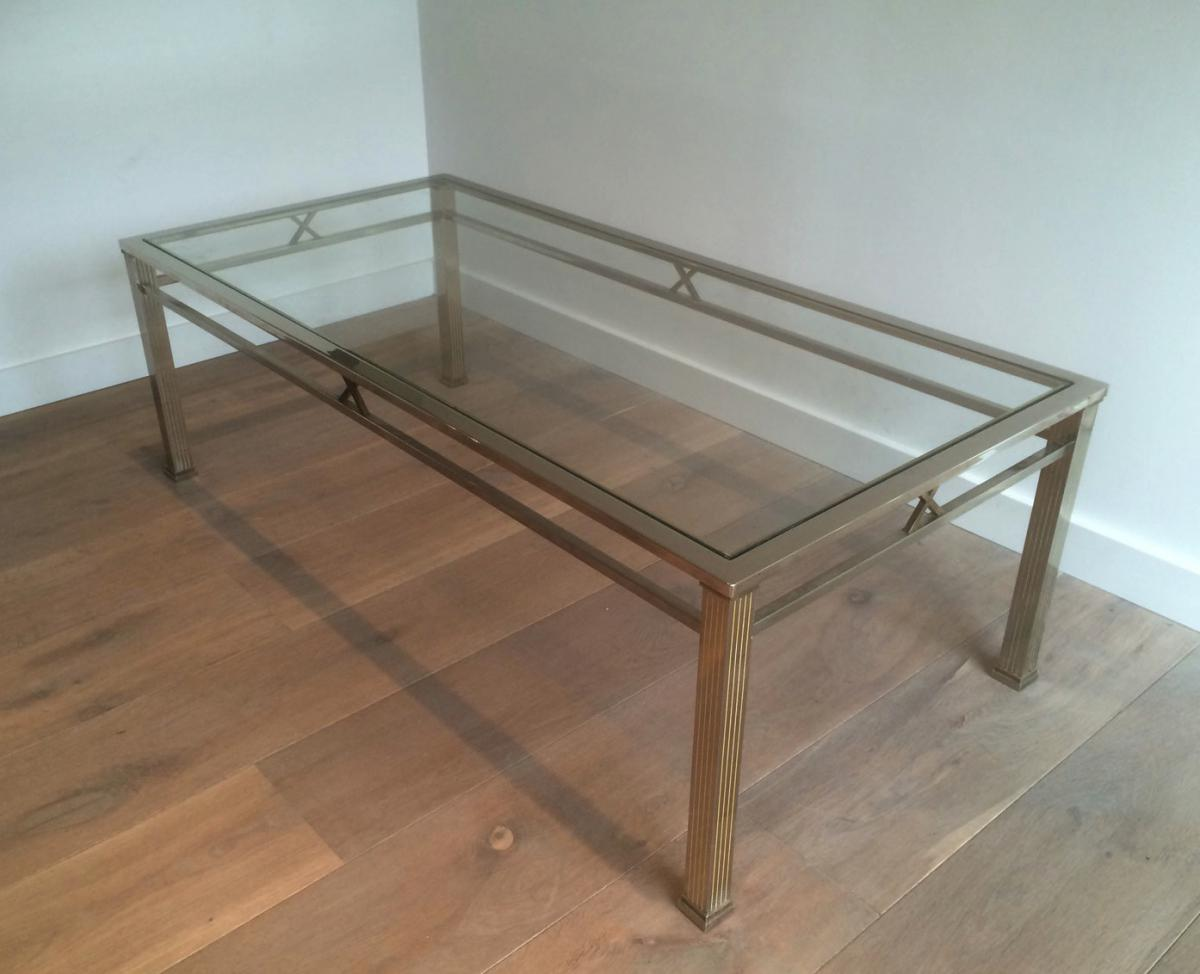 Neo-classical Style Chrome And Brass Coffee Table. Circa 1970
