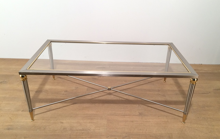 Table basse en acier bross vers 1970 tables basses - Table basse acier brosse ...
