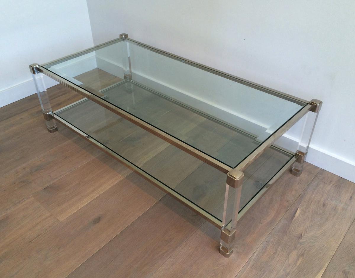 Importante Table En Plexiglass Et Laiton Vers 1970