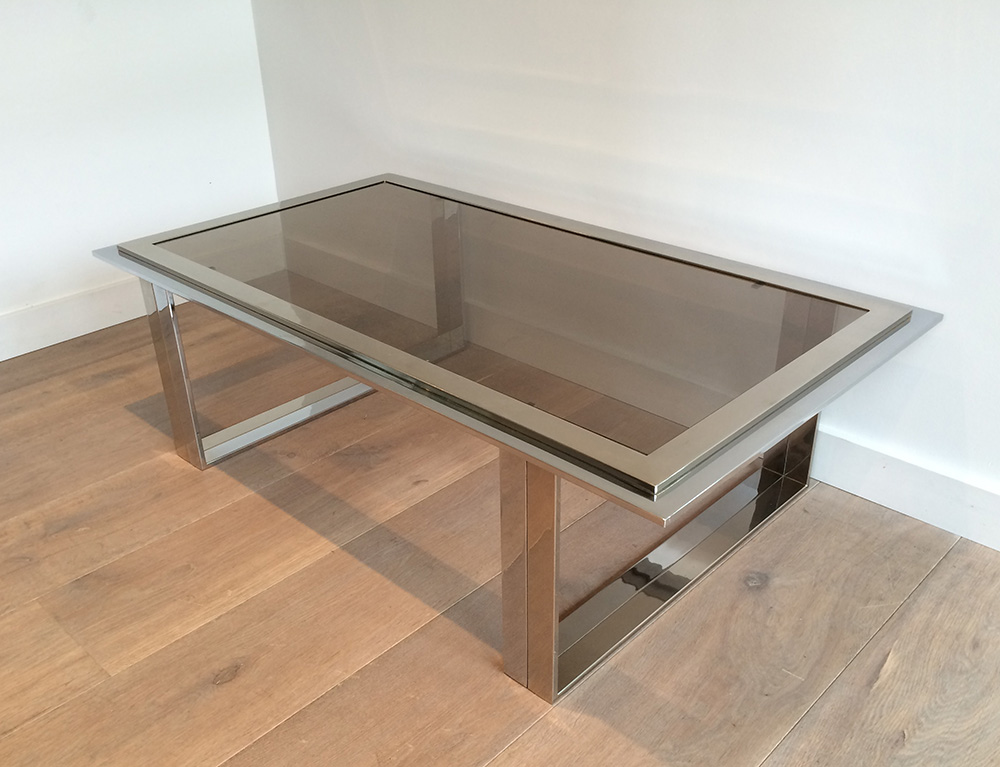 Willy Rizzo.Table Basse Design Chrome Et Laiton. Vers 1970