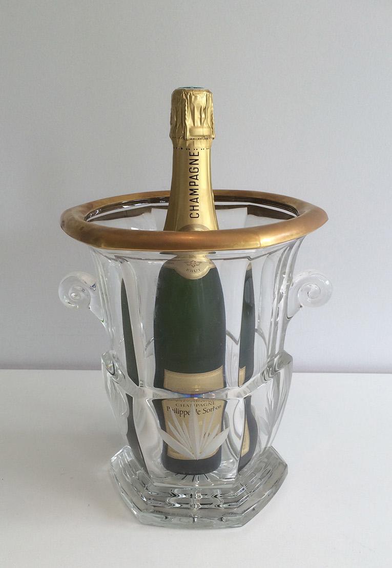 Seau à Champagne En Cristal Vers 1940.