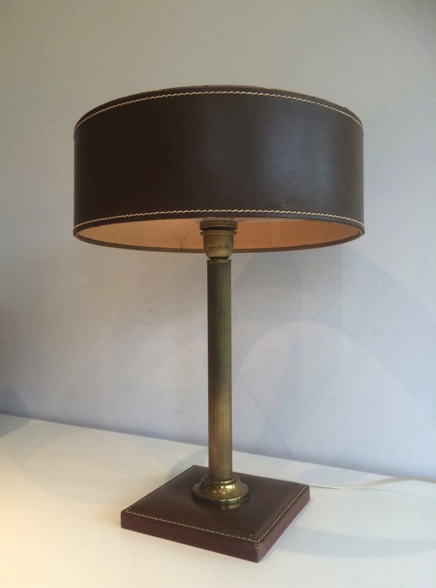 n cessaire de bureau en cuir vers 1970 encriers ecritoires. Black Bedroom Furniture Sets. Home Design Ideas