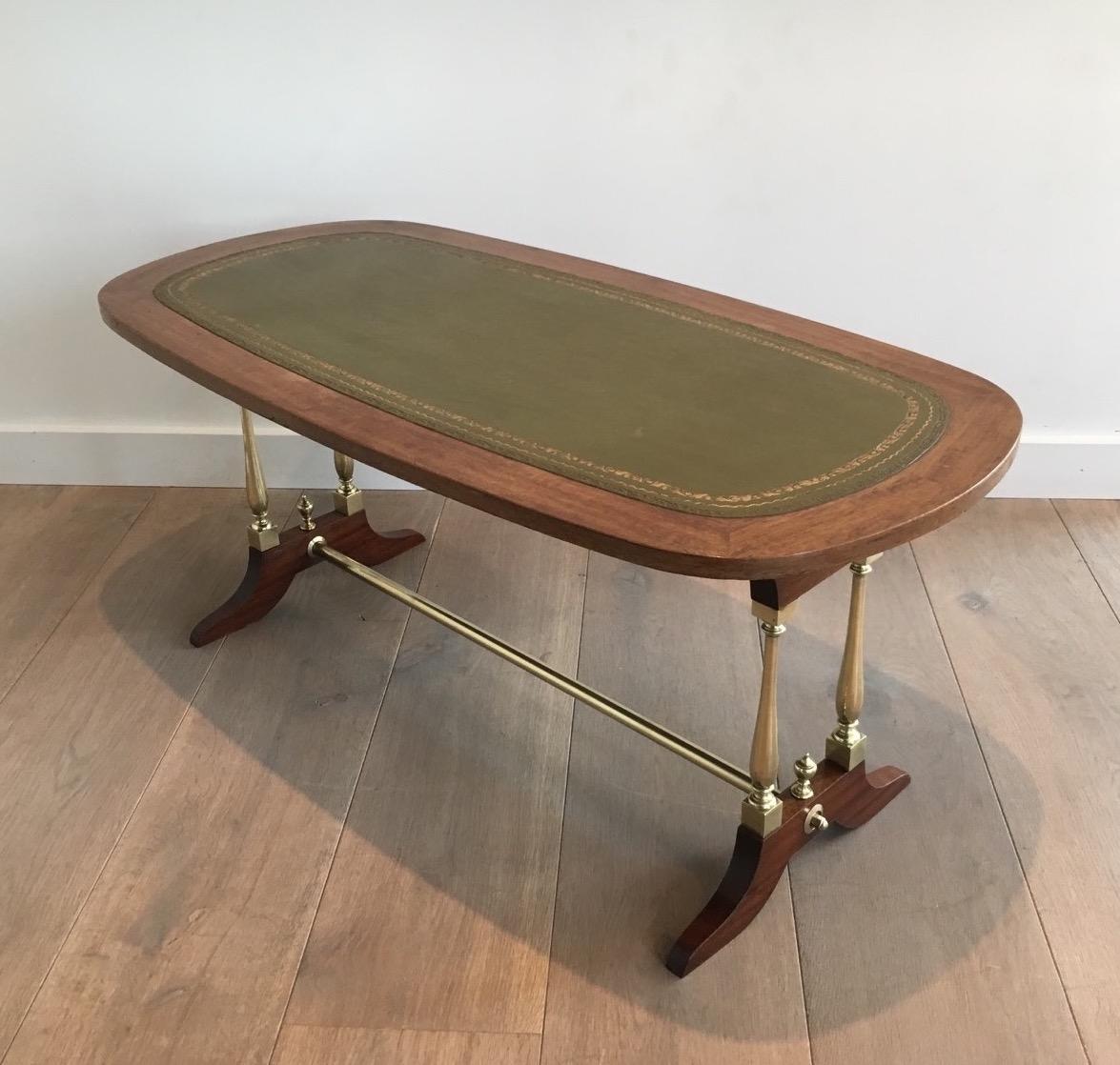 table basse n oclassique en bois laiton et cuir vers. Black Bedroom Furniture Sets. Home Design Ideas