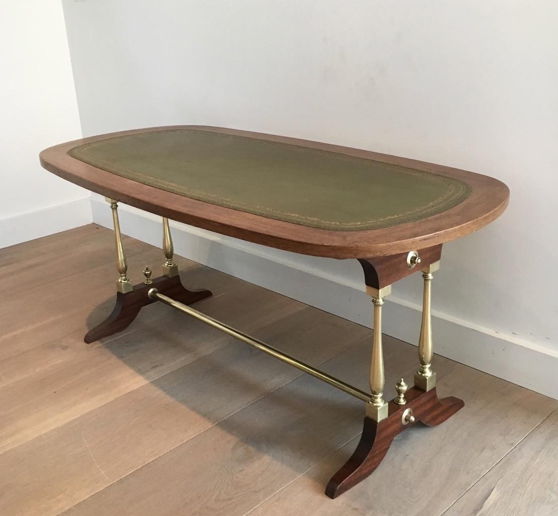 table basse n oclassique en bois laiton et cuir vers 1940 tables basses. Black Bedroom Furniture Sets. Home Design Ideas