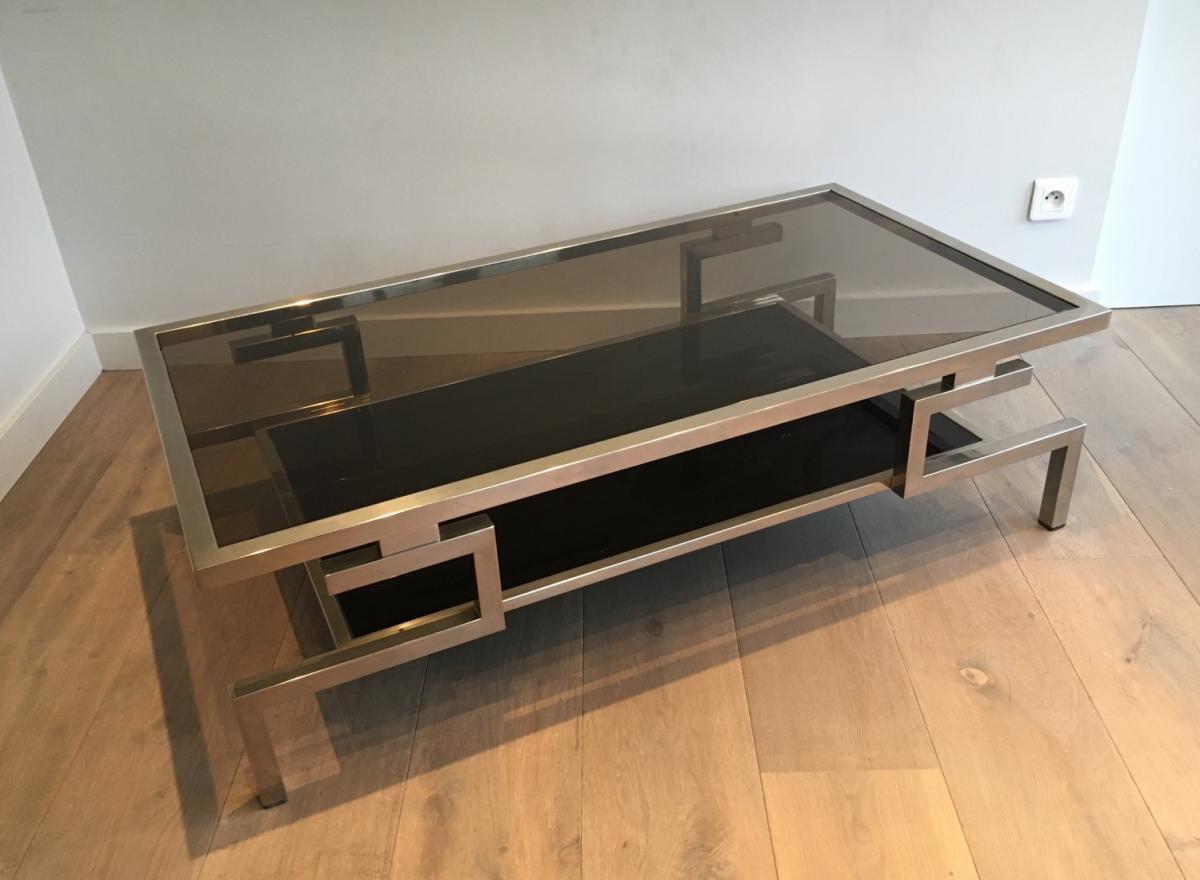 Très Belle Table Basse Moderniste Chromée. Vers 1970