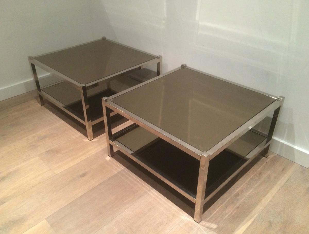 Paire De Grands Bouts De Canapé En Chrome Et Miroirs Bronze. Vers 1970