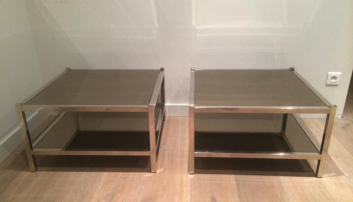 Paire De Grands Bouts De Canapé En Chrome Et Miroirs Bronze. Vers 1970-photo-2
