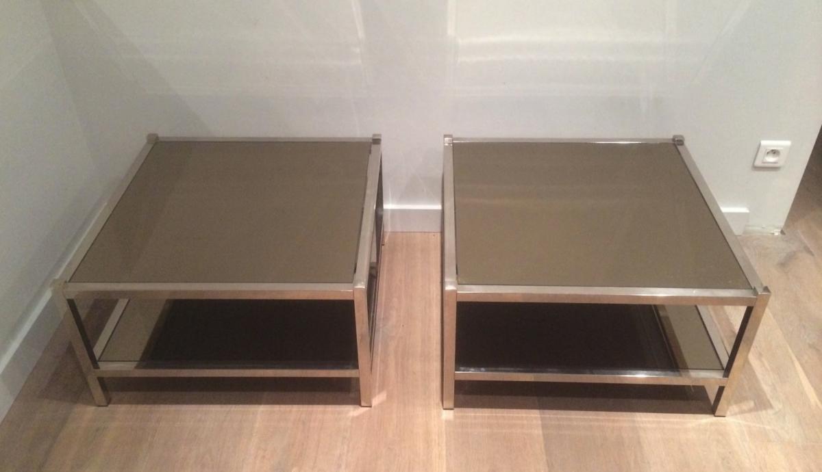 Paire De Grands Bouts De Canapé En Chrome Et Miroirs Bronze. Vers 1970-photo-5