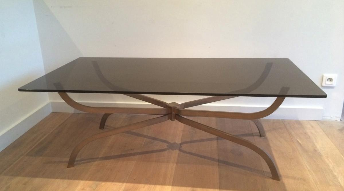 Charles House. Beautiful Brushed Steel Coffee Table And Smoky Glass Slab. Around 1960