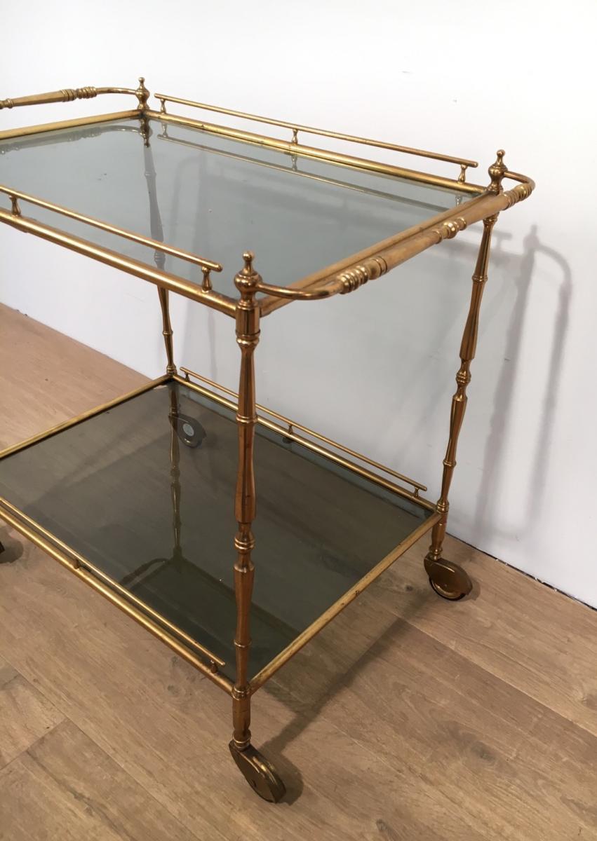 petite table roulante en laiton plateaux de verre. Black Bedroom Furniture Sets. Home Design Ideas