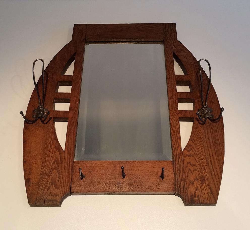 int ressant miroir art nouveau en ch ne et laiton vers. Black Bedroom Furniture Sets. Home Design Ideas
