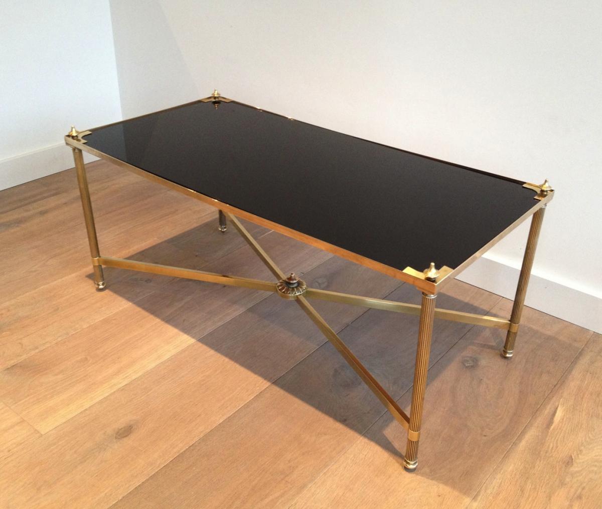 table basse rectangulaire en laiton et plateau de verre laqu noir vers 1940 tables basses. Black Bedroom Furniture Sets. Home Design Ideas