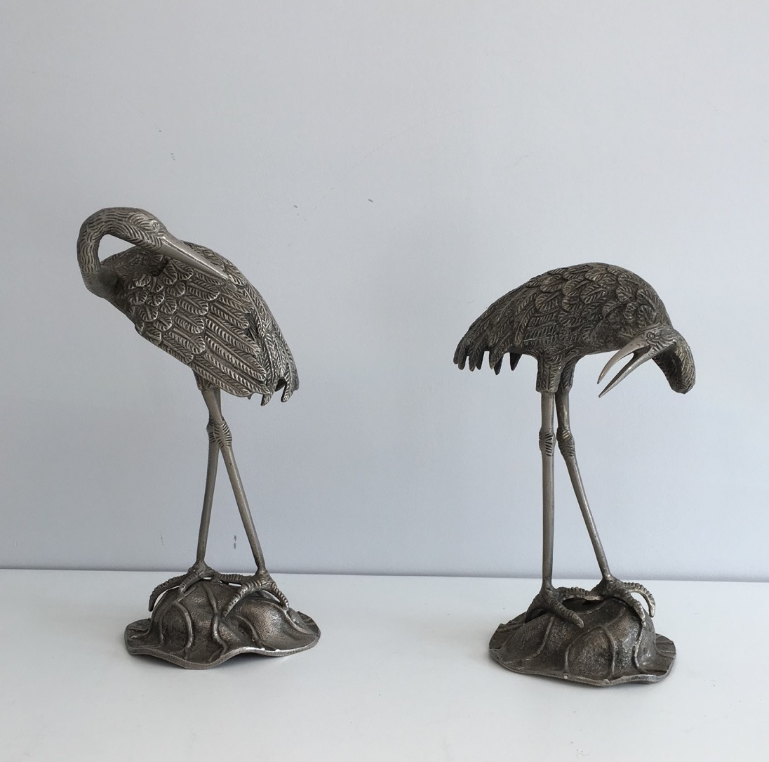 Pair Of Herons In Silver Metal. Attributed To La Maison Bagués. Around 1940