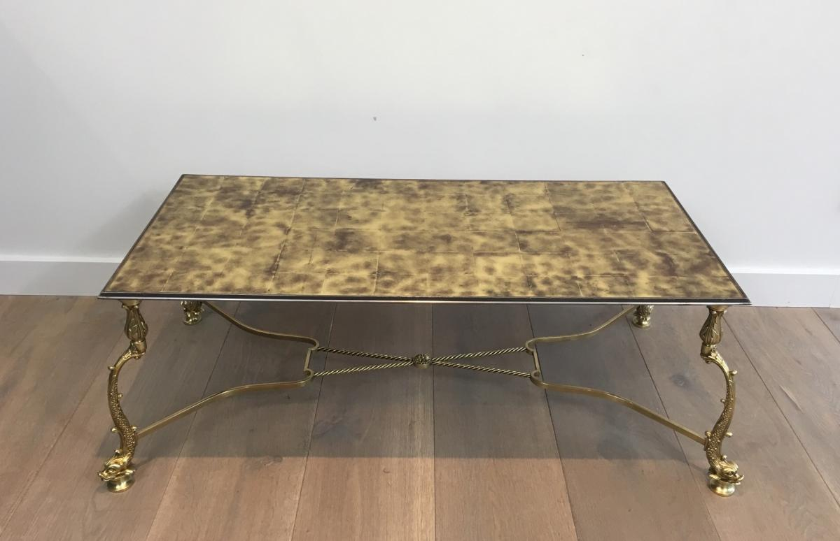 Rare Brass Coffee Table Decorated With Dolphins And Tray Made Of Golden Tiles On Verr