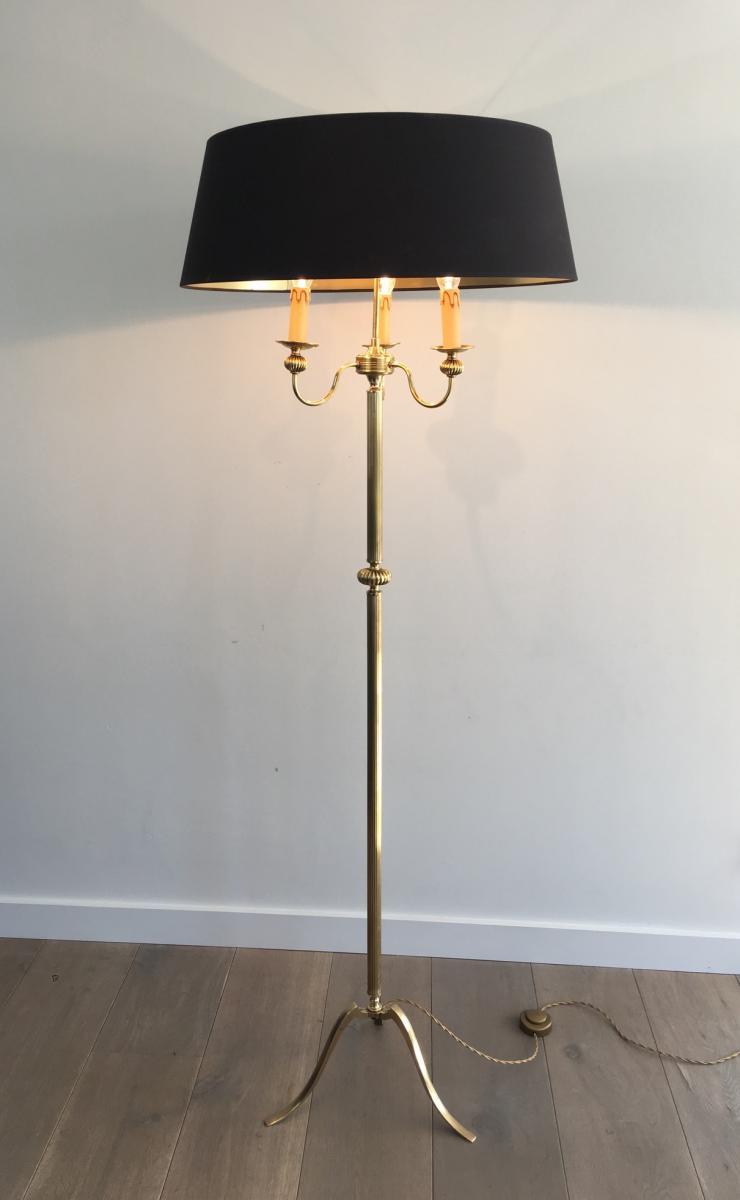 Lamppost Flooring Brass 3 Arms Of Light. Around 1960