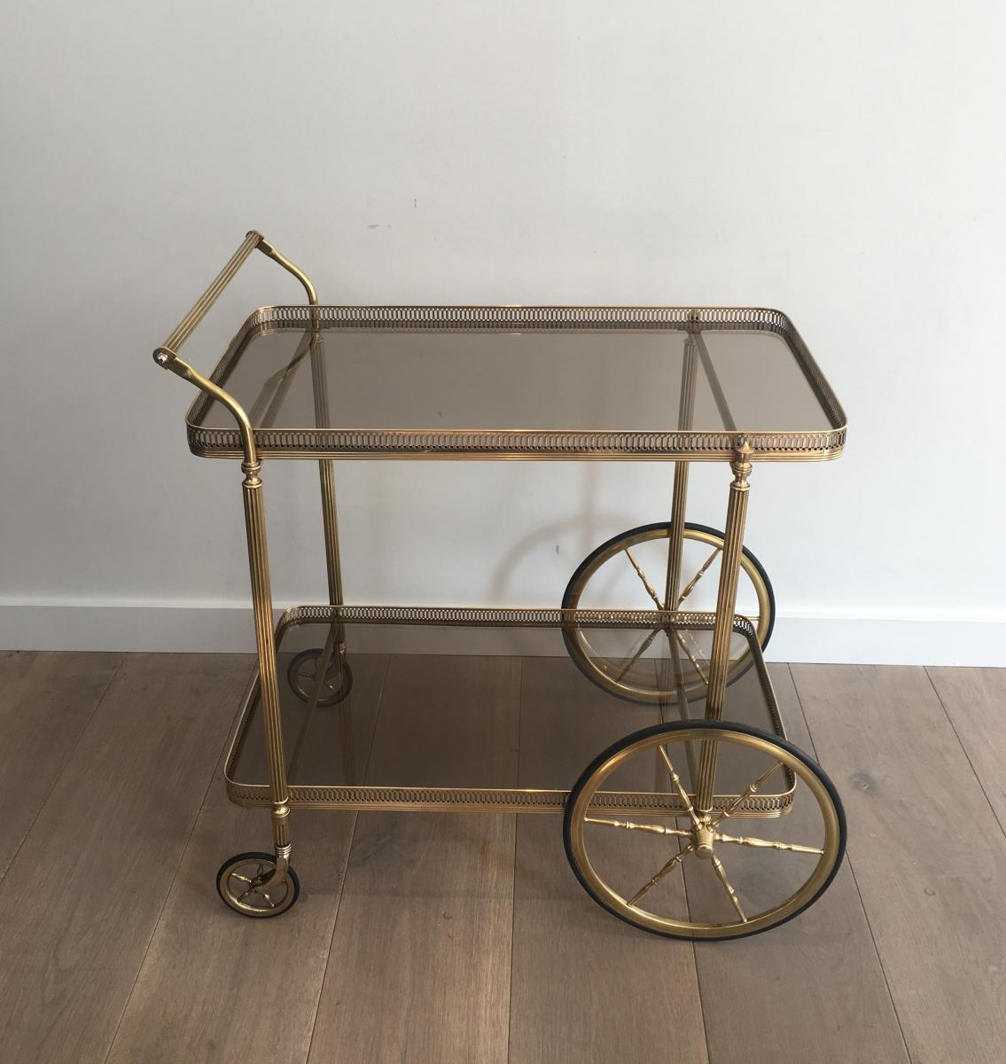 In The Taste Of The Jansen House. Neoclassical Rolling Table In Brass